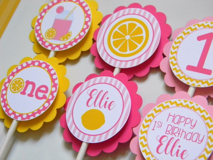 Pink Lemonade Cupcake Toppers, Pink Lemonade Party Decorations, Lemonade Party Supplies, Pink Lemonade Birthday Party, Set of 12 by sweetheartpartyshop on Etsy https://www.etsy.com/listing/242001796/pink-lemonade-cupcake-toppers-pink