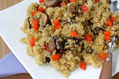 Quinoa with Caramelized Crimini Mushrooms, Soy Sauce and Ginger