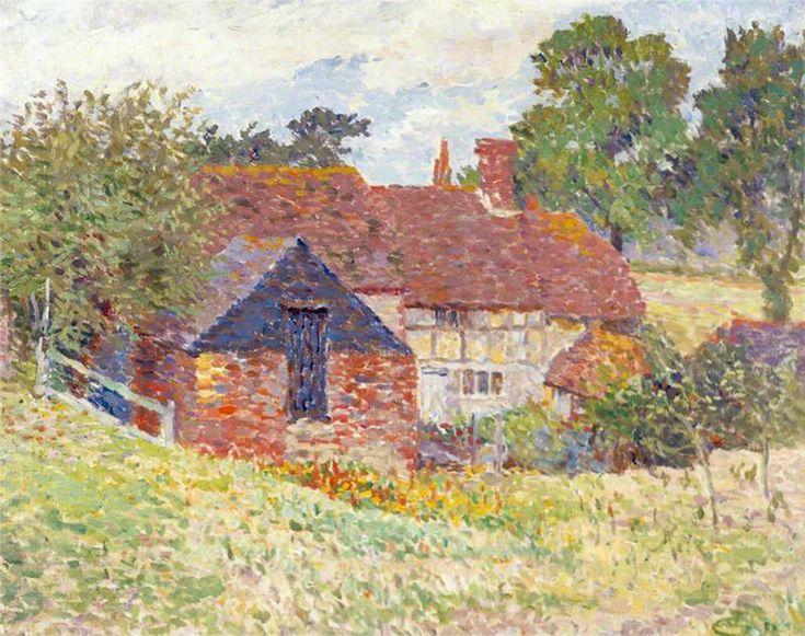 Cottage at Storrington   Lucien Pissarro (1863–1944)   Worthing Museum and Art Gallery #Pissarro #WorthingMuseum