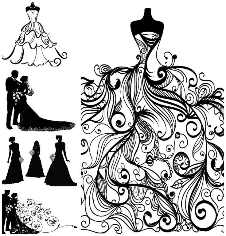 bride+in+wedding+dress+sillhouette | bride and groom silhouette clip art