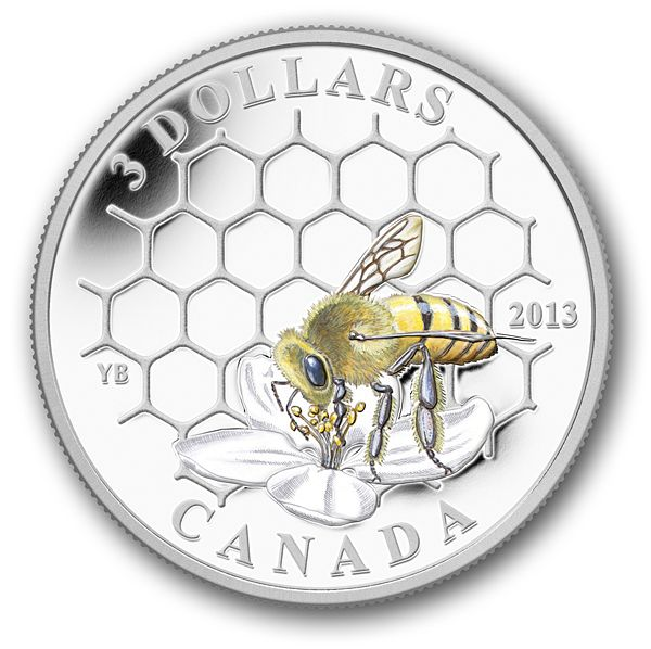 Canada Post - 2013 $3 Pure Silver Coin-Animal Architects: Bee and Hive - From the Royal Canadian Mint
