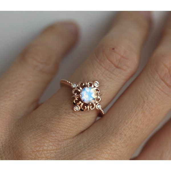 Vintage Moonstone Ring in Solid Gold, Victorian Engagement Ring, Blue... (1,455 NZD) ❤ liked on Polyvore featuring jewelry, rings, gold ring, vintage engagement rings, moonstone ring, blue moonstone ring and gold engagement rings