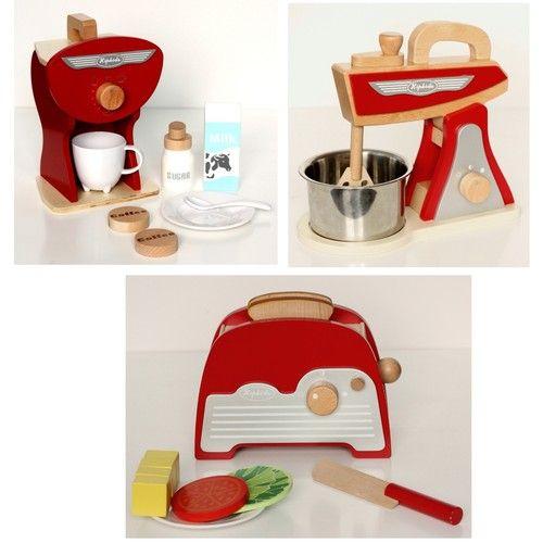 Red Retro Toy Kitchen Accessories Set 3 Pk