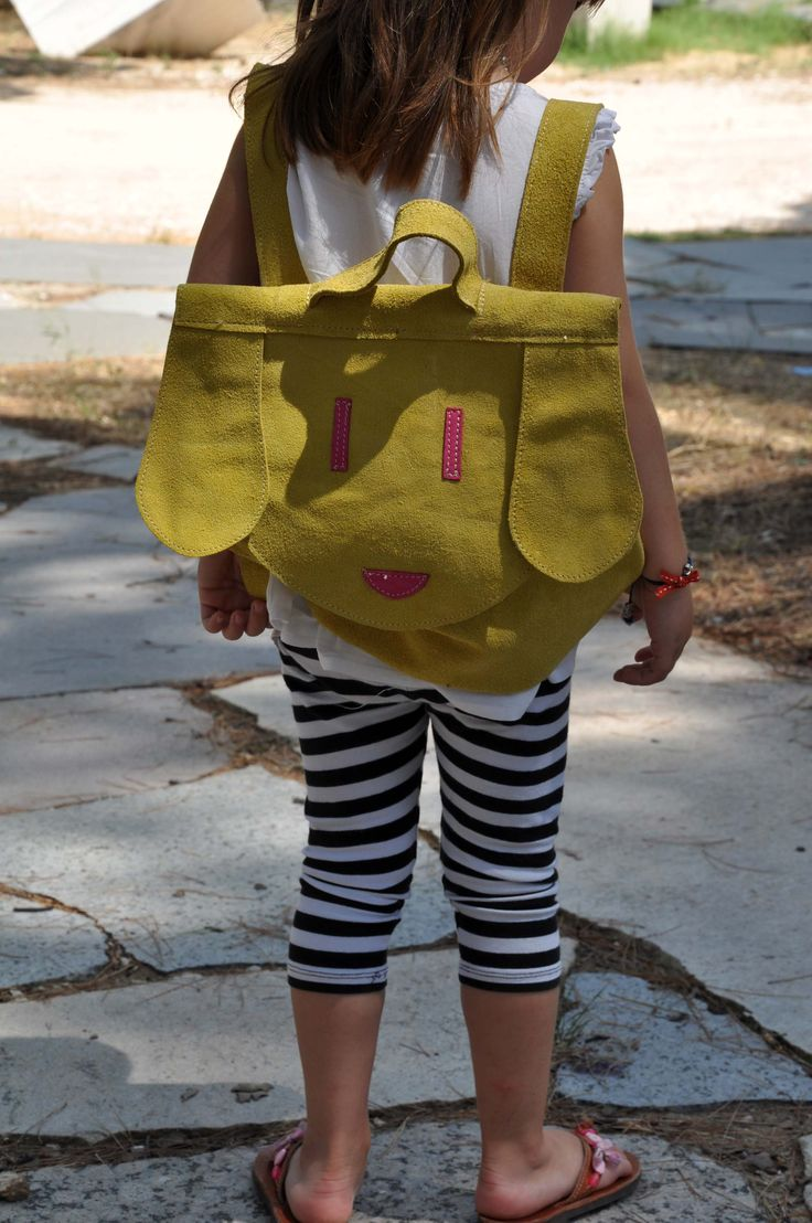 kids backpack, suede yellow leather