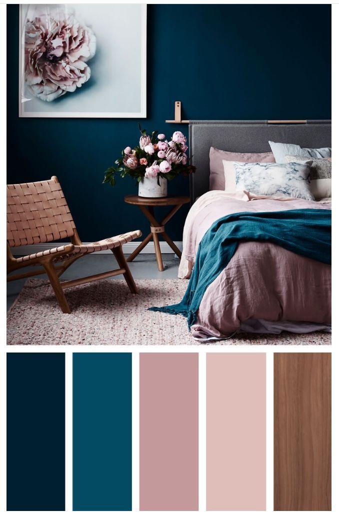 15 beste Farbschemata für Ihr Schlafzimmer – golden + lila + marineblau und grün in der blauen Farbe #bedroom #colorpalette