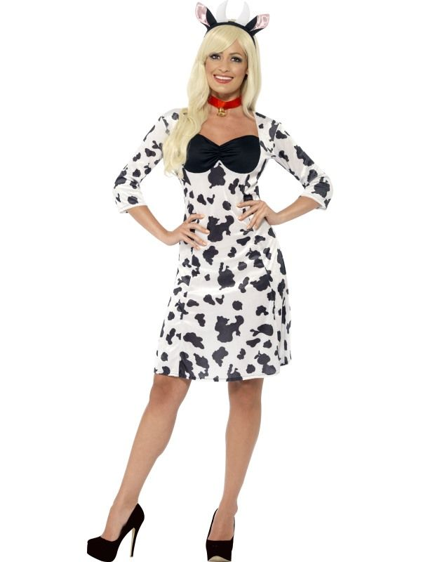 cow costume ladies black and white funny animal fancy dress party outfit new - Halloween Costume Cow