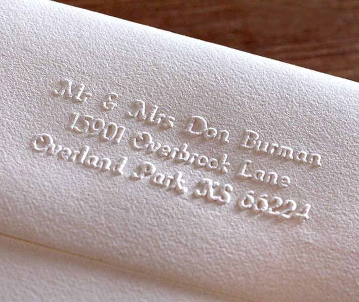 event invitation envelope with return address applied to flap