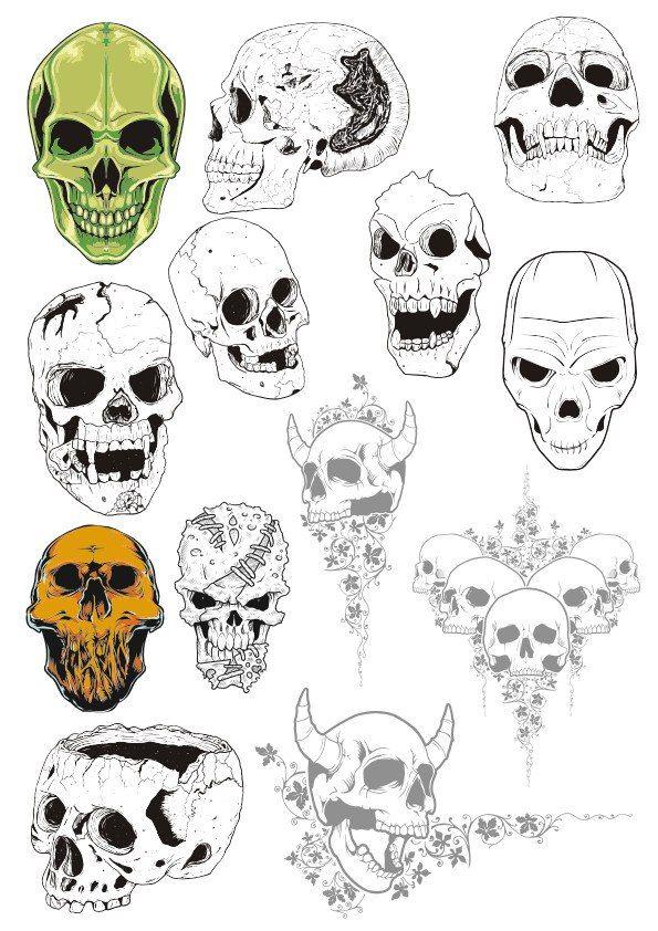Skull Set Free Vector cdr Download in 2019   Skull Vectors   Vector