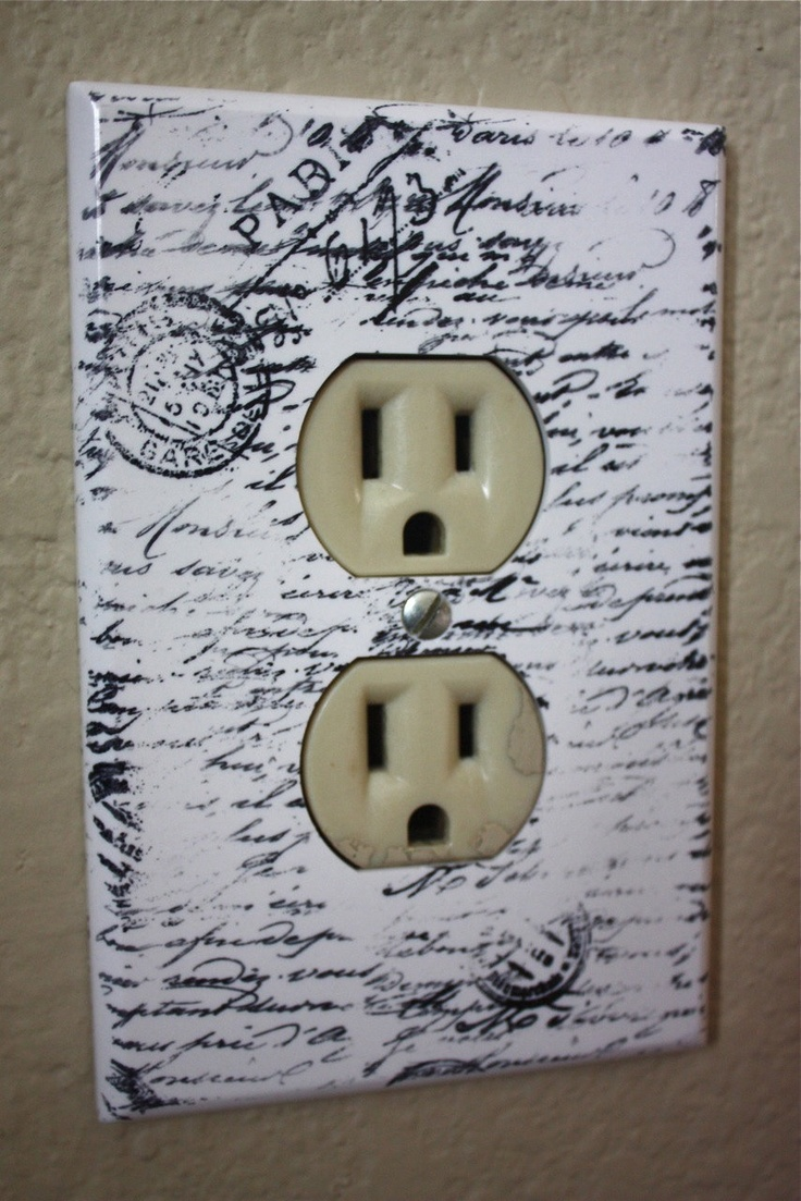 White paris electrical outlet plate cover with script 1 Electrical outlet covers