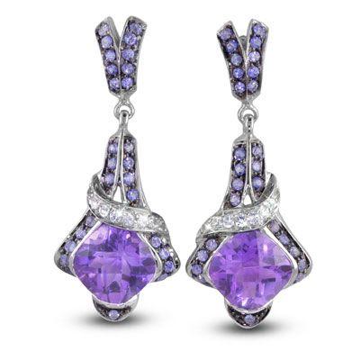 "Moi Moi Fine Jewellery - PASCLINA   ""Pasclina A"" Earrings 2 x 8mm Cushion Amethyst, 4.63ct each 6 x Blue Sapphires, 0.26tcw 16 x White Sapphires, 0.12tcw"