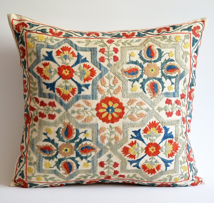 Sukan Vintage Hand Embroidered Silk Suzani Pillow