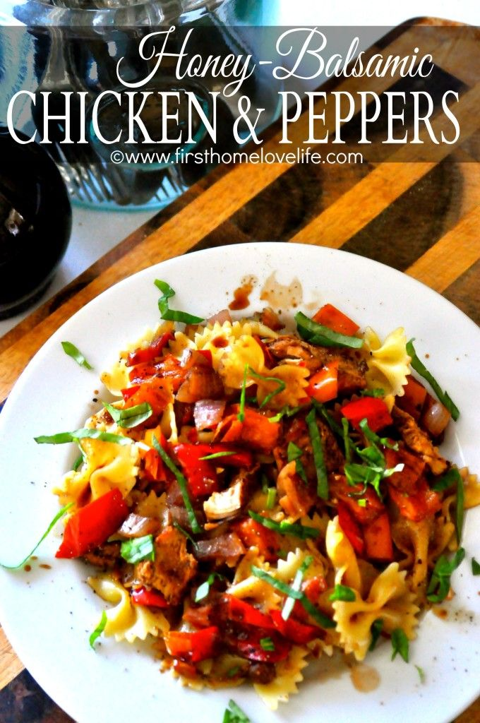 Honey Balsamic Chicken and Peppers- A super easy to make busy weeknight meal! #chicken #recipes