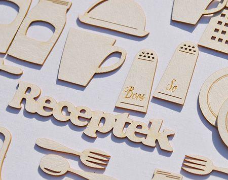 Konyhai eszközök, befőttesüvegek… minden ami egy receptes füzet díszítéséhez kellhet. Átlag méret 2-5 cm. Paraméterek: Sav és ligninmentes karton ömlesztett csomagolás