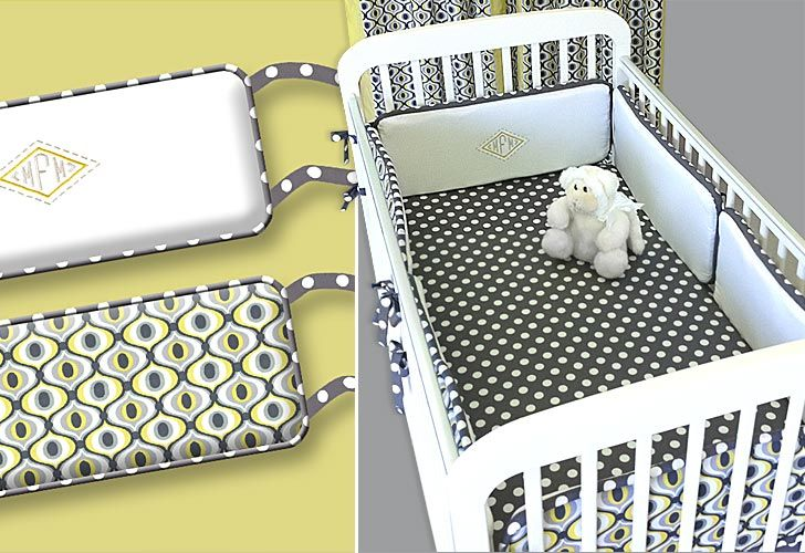 Michael Miller Fabrics' Citron-Gray Nursery: Crib Bumpers with Jumbo Piping