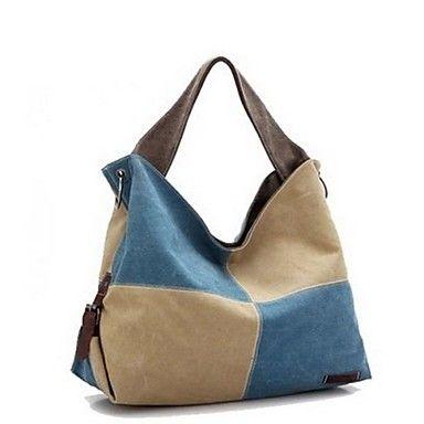 DLH ® de nieuwe vrouwen mode toevallige schoudertas kant stiksels grote canvas tas yz-711 – EUR € 12.99
