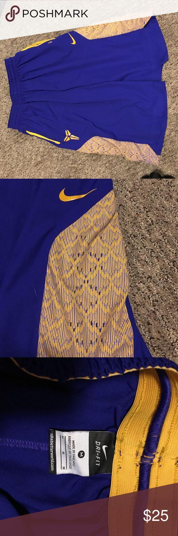 Nike Kobe Bryant basketball shorts Purplish blue and yellow light weight dri-fit basketball shorts good condition Nike Shorts Athletic