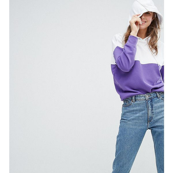 Monki Colour Block Hoodie (50 AUD) ❤ liked on Polyvore featuring tops, hoodies, purple, cotton hoodies, purple crop top, cropped hoodie, colourblock hoodie and cropped hoodies