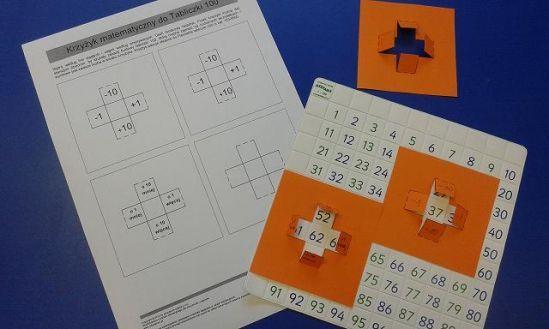 """Krzyżyk matematyczny- brzmi nieco tajemniczo? A to tak proste i efektywne narzędzie. Jeśli  wiesz, jaką wartość edukacyjną ma tablica 100, szybko polubisz i włączysz do swojej pracy z dziećmi krzyżyk matematyczny. Wystarczy wydrukować go na nieco grubszym papierze, wyciąć, zagiąć i gotowe. Nasz model pasuje idealnie do Flexitable-Tabliczki 100. Jest to elastyczna tablica 100, którą można zaginać w kolumnach (""""dwójek"""", """"trójek"""", czyli takich, gdzie w rzędzie jedności całej kolumny pojawia się…"""