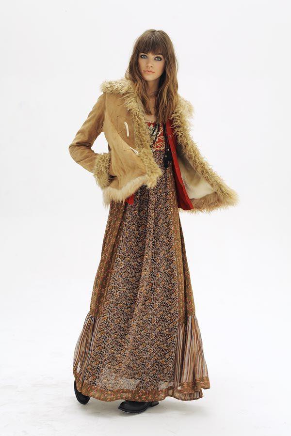 Vintage style suede/fur jacket & pretty maxi in autumn tones. Boho chic for fall. Rapsodia.