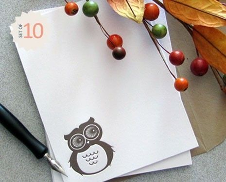 10-pack of sweetly simple owl note cards & envelopes, for when you want to send something a little more special than an email. $18 in sweetharvey's Etsy shop.Hoot Owls, Letterpresses Mocha, Cards Sets, Mocha Brown, Owls Note, Flats Note, Note Cards, Notecards, Brown Flats