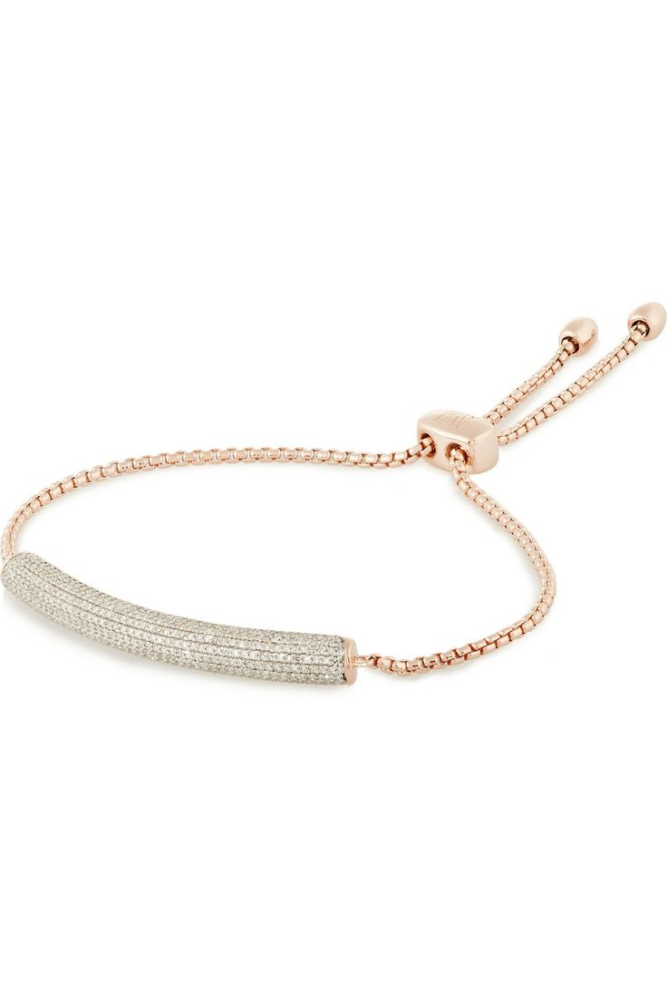 Monica Vinader Monica Vinader Woman Baja Rose Gold-plated Sterling Silver, Emerald And Diamond Bracelet Rose Gold Size ONESIZE
