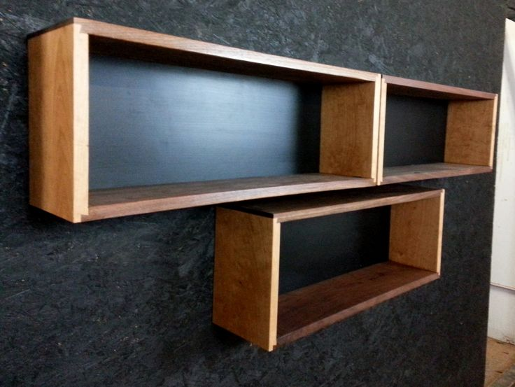 Delightful Deep Wall Shelves Part - 11: Set Of Three Closed Back Floating Bookcases, Half Dovetail Joinery. Each  Long X Tall X Deep