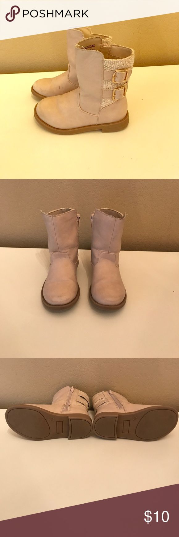 Toddler girl's Target boots Very light pink. Back material has sparkles in it. Toes are slightly worn. Small pen mark on right boot. Shoes Boots