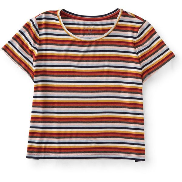 Aeropostale Prince & Fox Multi Stripe Cropped Marine Tee (€12) ❤ liked on Polyvore featuring tops, t-shirts, shirts, crop tops, island flower, striped t shirt, aeropostale shirts, striped shirt, striped crop top and striped tee