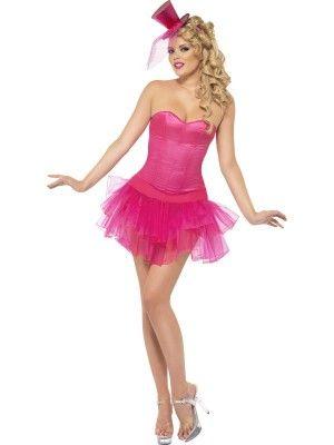 Costume Burlesque Beauty. Abito intero con tutù rosa. TG.M Travestimento Carnevale anni '80 stile Madonna. Disponibile da C&C Creations Store