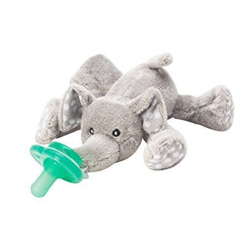 Nookums Paci-Plushies Elephant - Universal Pacifier Holder (Includes New One-Piece Pacifier)  Paci-Plushies make finding baby's pacifier a snap! Eliminate the stress of searching for lost pacifiers with our universal pacifier holder.  Paci-Plushies® Pacifier Holders have a flexible Hug Ring that attaches to a variety of baby's favorite pacifiers including Mam, Avent, NUK and many more.  Paci-Plushies plush animals make it easier for babies to independently maneuver the pacifier at a yo...