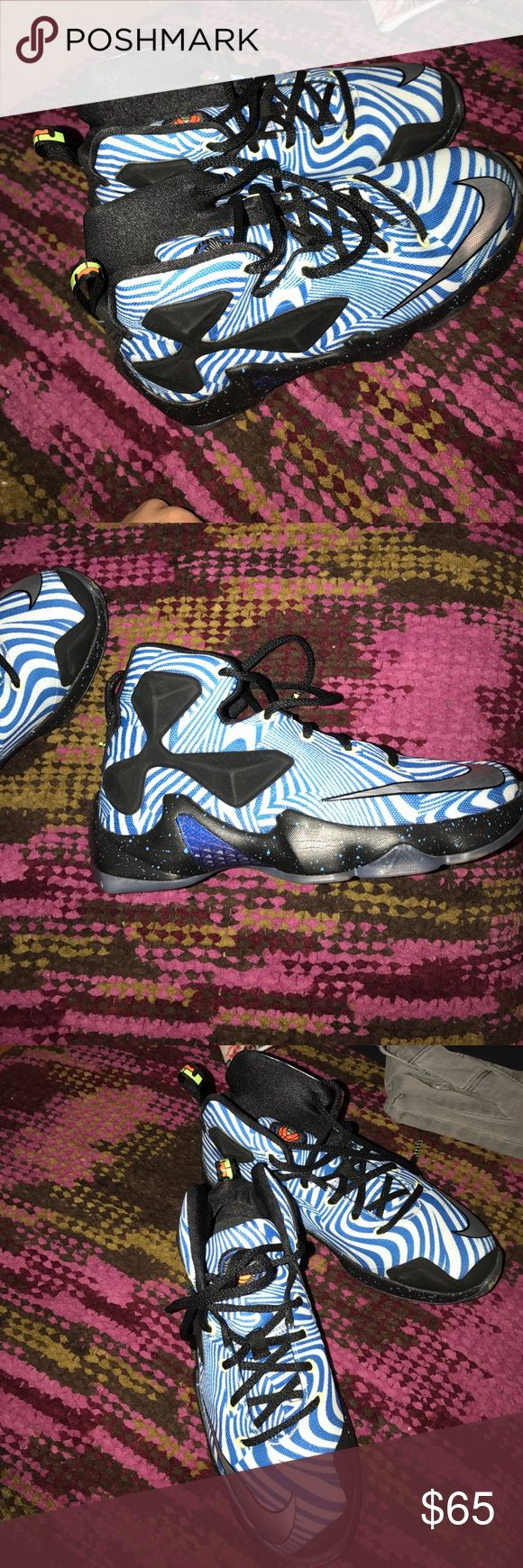 Nike Lebron James shoes / basketball / gym shoes They are Nike Lebron James basketball or simply to wear at the gym athletic shoes. They are a size 4y in youth boys which is a size 6 in women's ! Nike Shoes Athletic Shoes