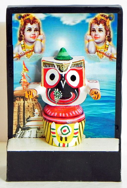 Jagannathdev with Two Krishna Photo and Puri Temple as Backdrop (Stone Dust)