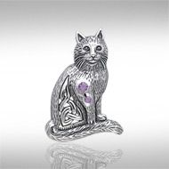 Magickal Cat Silver Pendant TPD331 -   This charming cat is accented with Celtic knotwork and your choice of gems for a beautiful sparkle.  Peter Stone – the world's leading manufacturer of fine sterling silver Wicca and Pagan jewelry – has created the Wiccan Cat Collection to celebrate the cat's long relationship as a companion to practitioners of Wicca.  Meticulously crafted from fine sterling silver, the Magickal Cat Silver Pendant is an enchanting celebration of this iconic Wiccan…