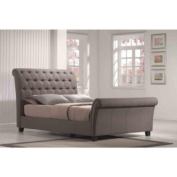 emerald home furnishings linen tufted upholstered sleighbed linen tufted upholstered queen sleighbed grey sleigh