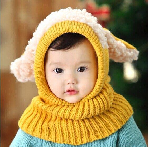 hete verkoop jongen meisje kinderen unisex hooded herfst winter warm oorklep beanie muts sjaal breien cap leuke peuter gorros berretti 5 kleuren in Materiaal:wollen garensHoed tegel breedte:22~24cmLengte:About49~50cm(1inches=2.54cm)Kleur:Voor roze, kaki, geel, blauw, van Hoeden & Petten op AliExpress.com | Alibaba Groep