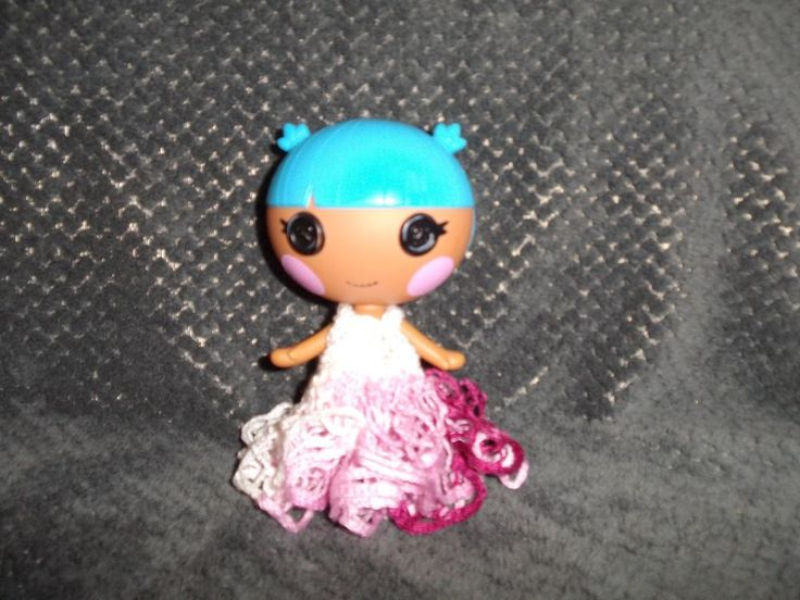 LalaLoopsy Little sister's crochet WHITE AND PINK Dress