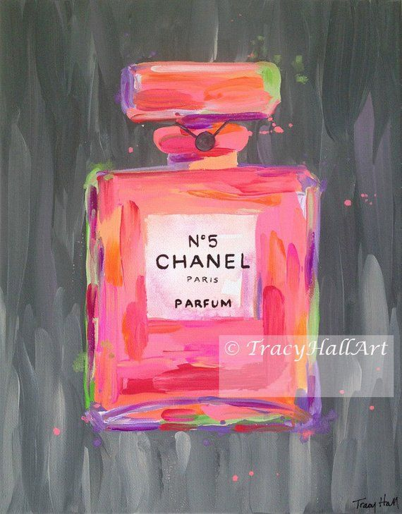 0921dd3629b Chanel Perfume Art Painting PRINT Chanel No. 5 Perfume Bottle Coral Pink  Gray from Original painting