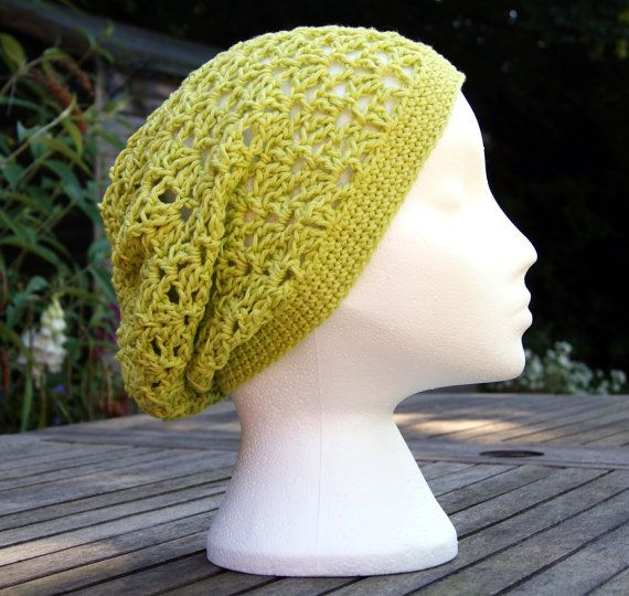"Crochet slouchy womens hat in ""Light Pistachio"". Cool airy open fan stitch crochet hat. Cotton hat. Summer hat. Beach hat, boho, green hat"