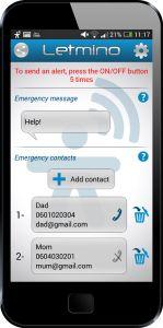 Avec #LETMINO il suffit d'appuyer 5 fois sur le bouton on/off de son smartphone pour lancer une alerte auprès de ses contacts présélectionnés