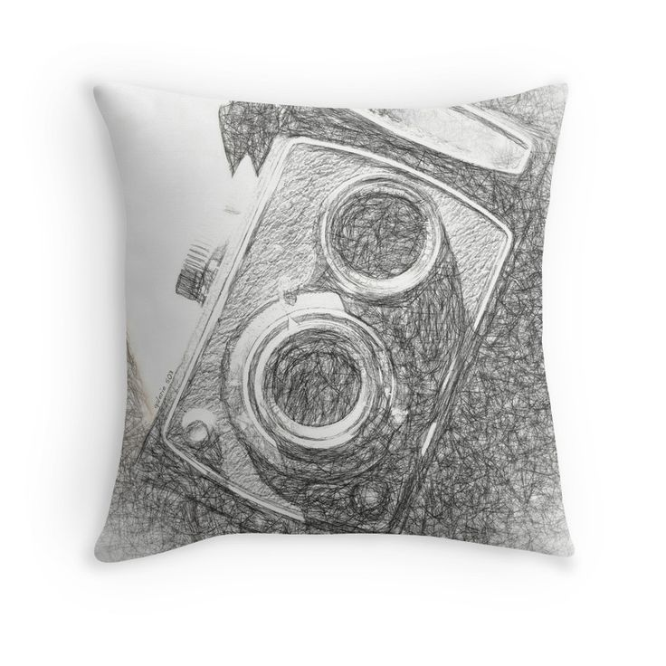 Vintage Camera - Scketch Throw Pillows by Galerie 503