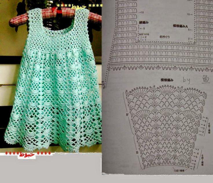 "Modelos de vestidos de crochê para meninas - ""Crochê da Mimi"""