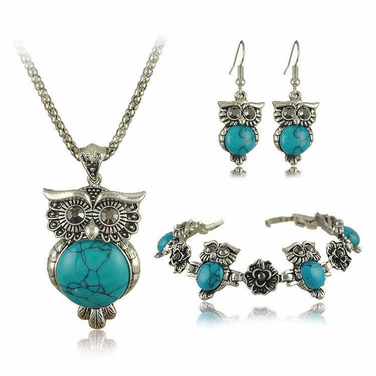 Owl Design Jewelry Set In Vintage Silver & Colored Stone – Big Star Trading Store