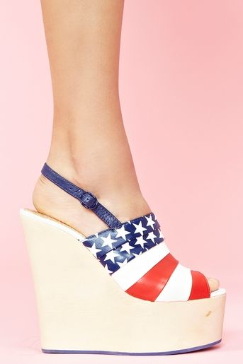 Chica Chola Platform Wedge in American Flag