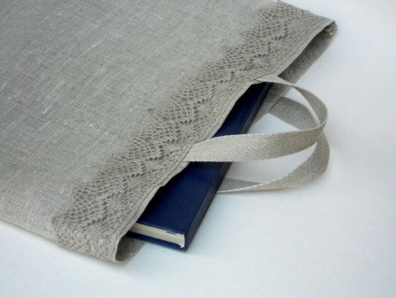 Gray linen burlap tote bag with linen lace bag for photo album book bag lingerie bag wedding favor bag