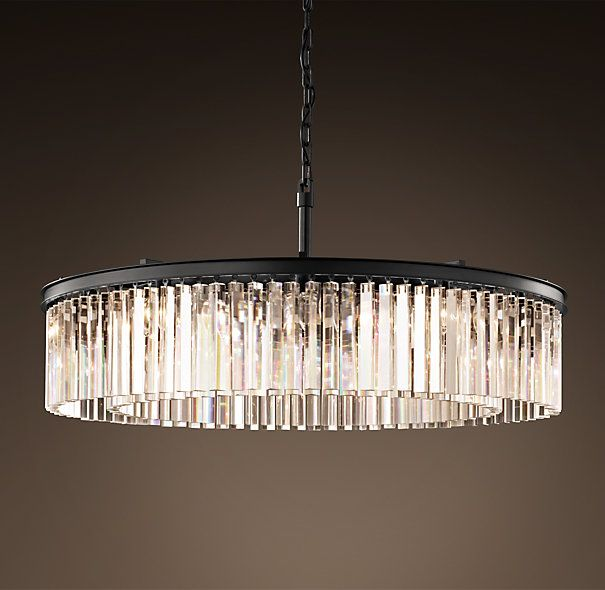 Rhys Clear Glass Prism Round Chandelier 43 Quot Grey Iron