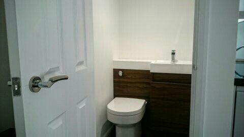 Toilet cubicle with walnut combination toilet and sink unit