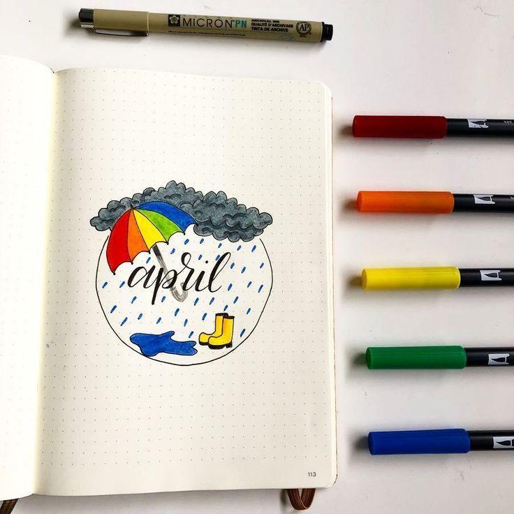 15 wunderbare Titelseiten des April Bullet Journal, die Sie inspirieren werden – #April #Bullet #Cover #Inspire #Journal