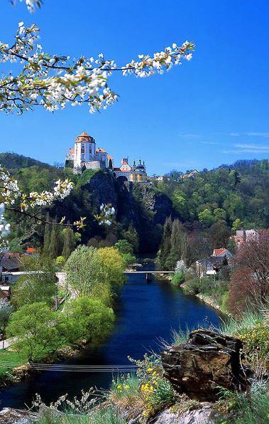 Vranov castle in the spring (South Moravia), Czechia