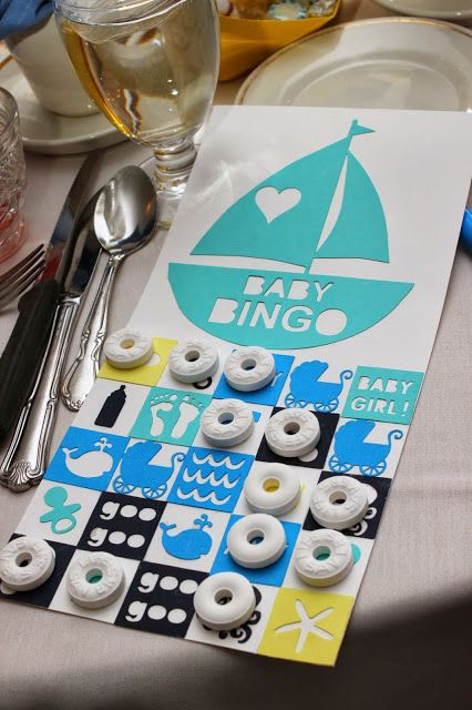 nautical sail boat baby shower bingo board with lifesaver candies for bingo markers