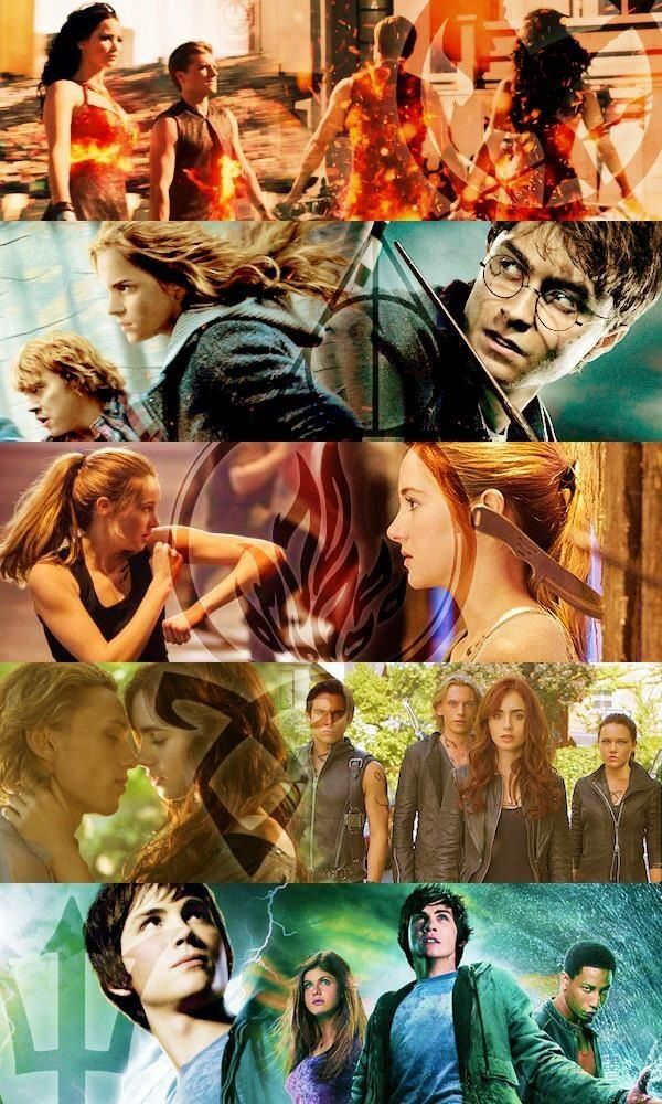 The Hunger Games, Harry Potter, Divergent, The Mortal Instruments and Percy Jackson